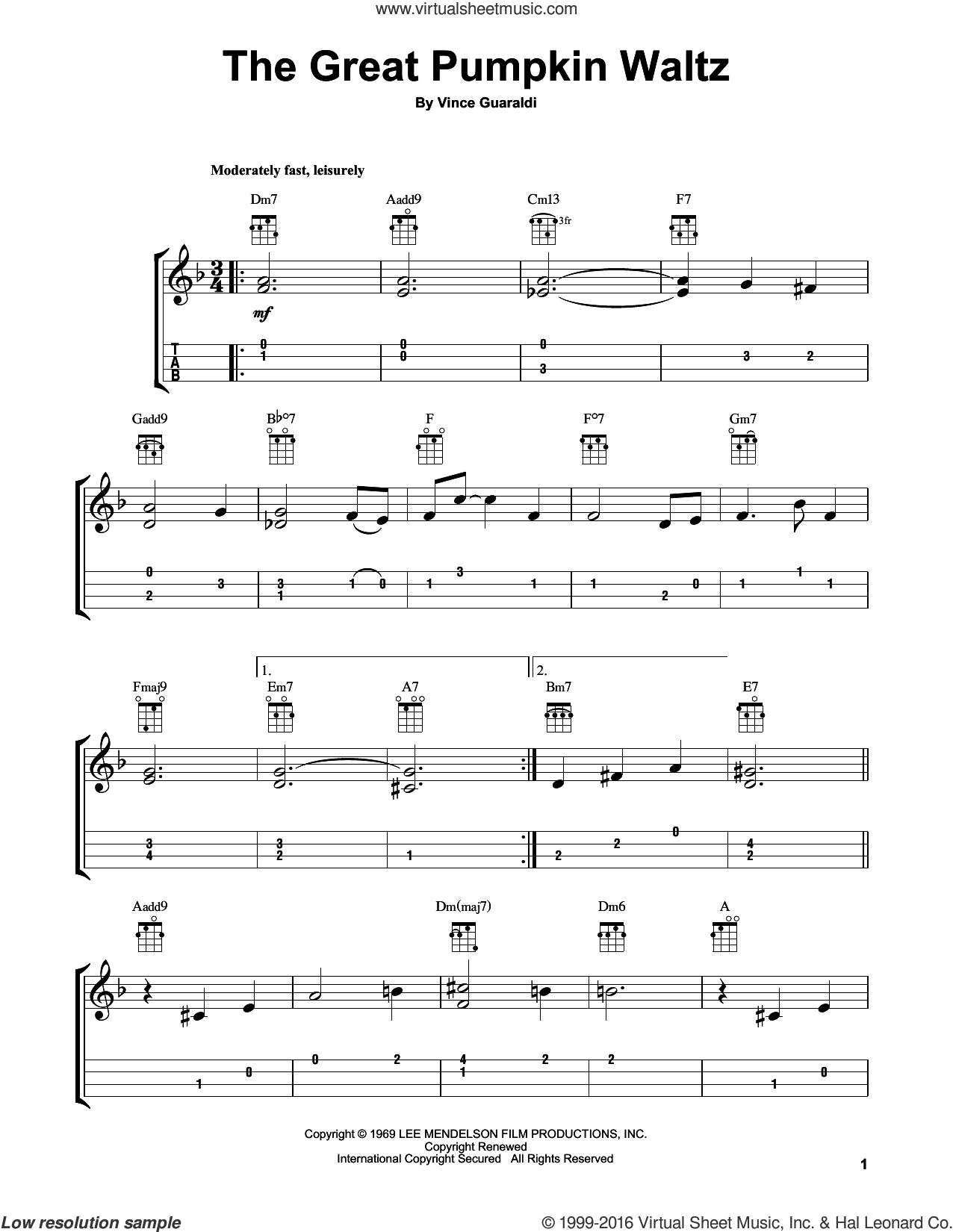 The Great Pumpkin Waltz sheet music for ukulele by Vince Guaraldi. Score Image Preview.