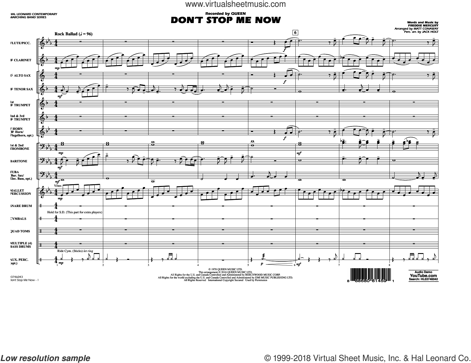 Don't Stop Me Now (COMPLETE) sheet music for marching band by Queen, Freddie Mercury, Jack Holt and Matt Conaway, intermediate skill level