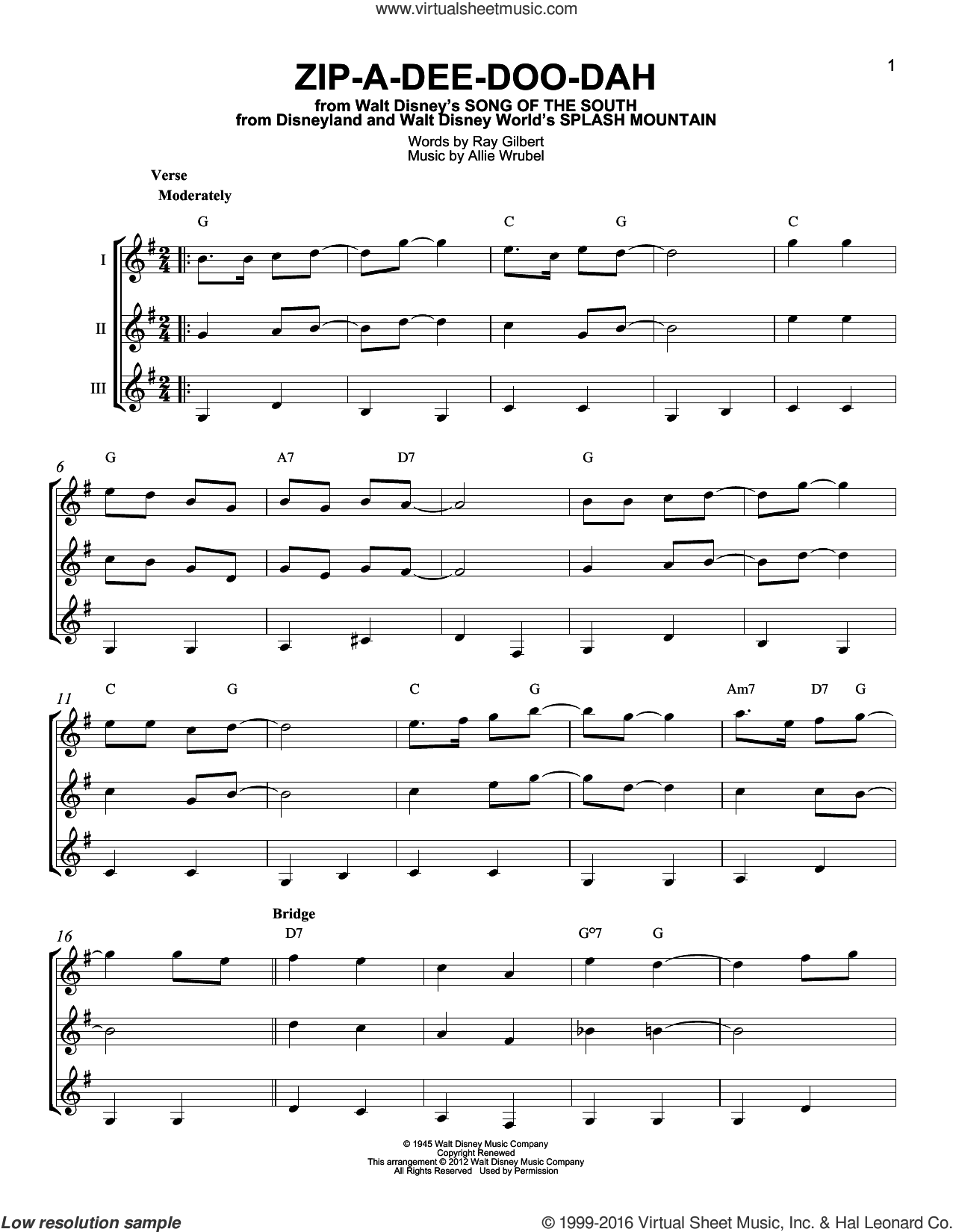Zip-A-Dee-Doo-Dah sheet music for guitar ensemble by Ray Gilbert and Allie Wrubel. Score Image Preview.