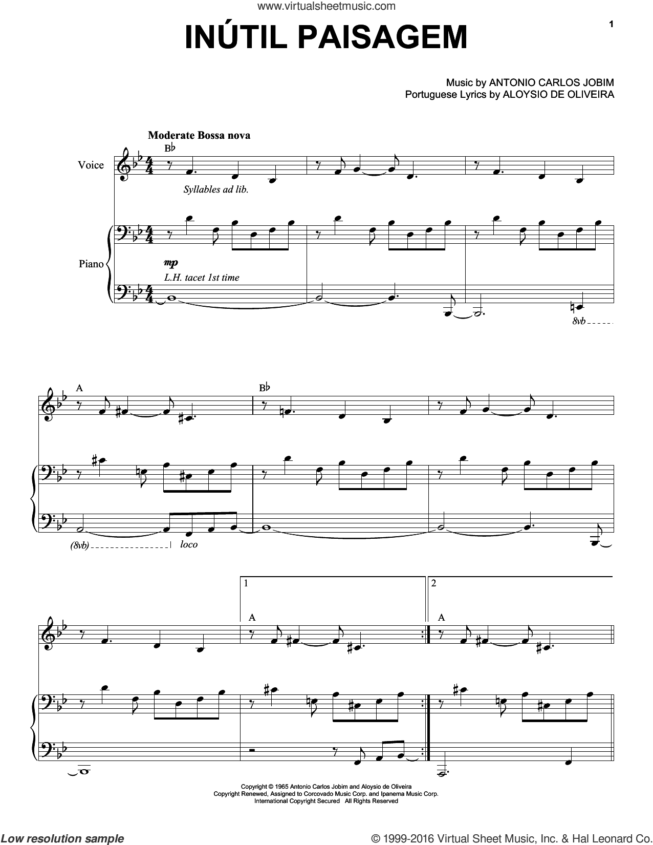 Inutil Paisagem sheet music for voice and piano by Antonio Carlos Jobim and Esperanza Spalding. Score Image Preview.