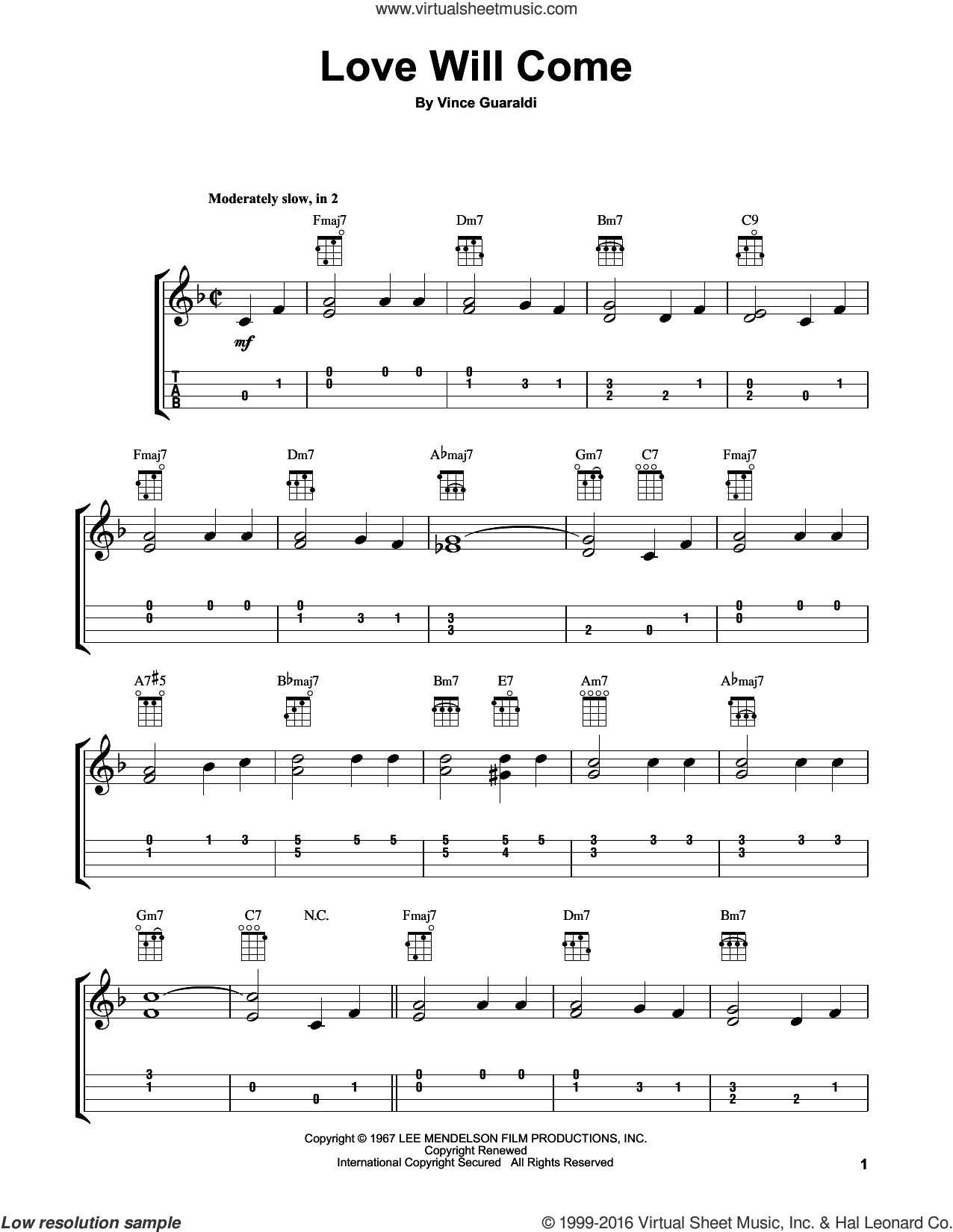 Love Will Come sheet music for ukulele by Vince Guaraldi, intermediate