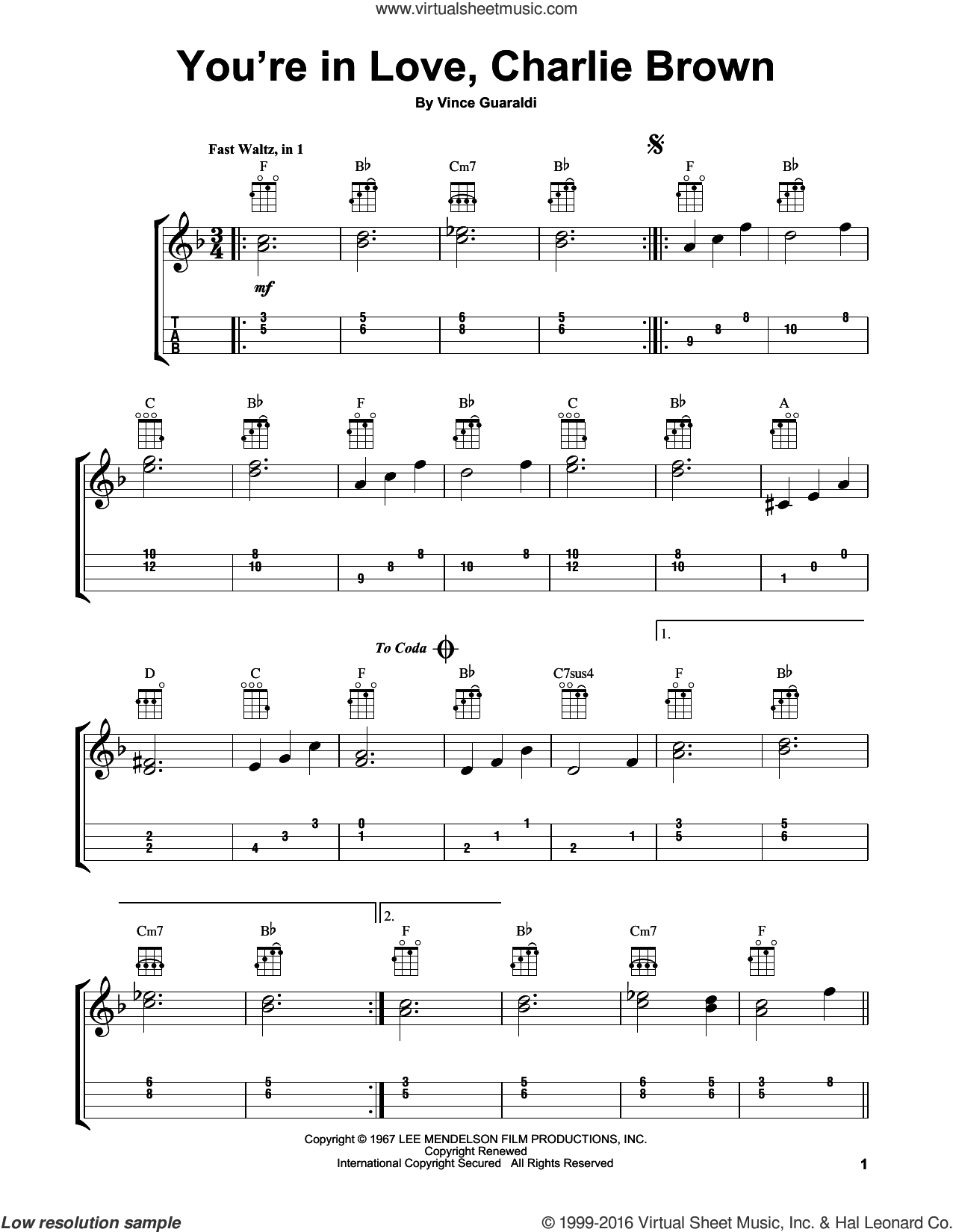 You're In Love, Charlie Brown sheet music for ukulele by Vince Guaraldi, intermediate skill level