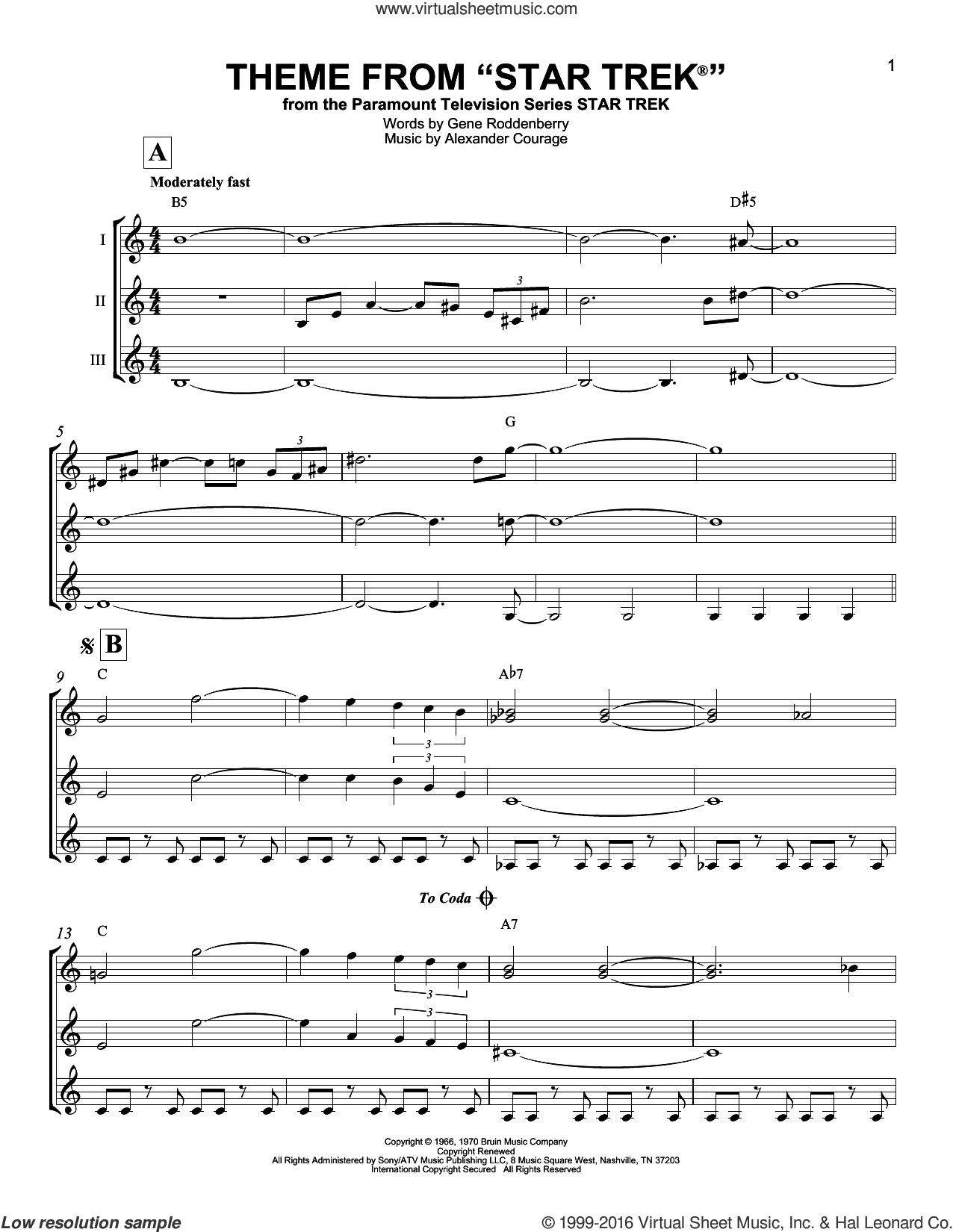 Theme From Star Trek sheet music for guitar ensemble by Alexander Courage and Gene Roddenberry, intermediate. Score Image Preview.