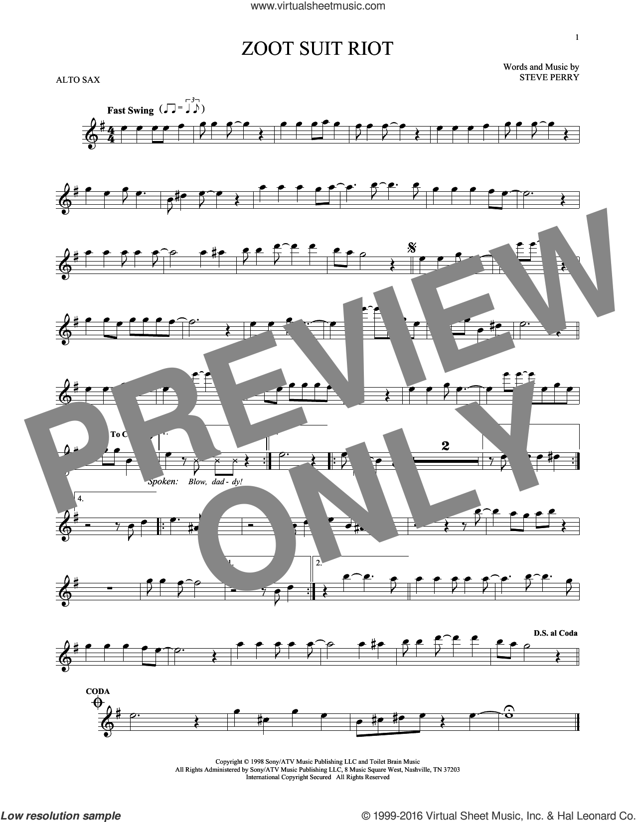Zoot Suit Riot sheet music for alto saxophone solo by Cherry Poppin' Daddies and Steve Perry. Score Image Preview.