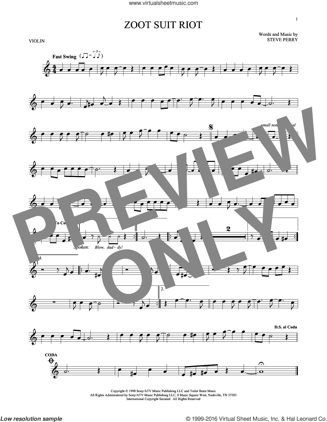 Zoot Suit Riot sheet music for violin solo by Cherry Poppin' Daddies and Steve Perry, intermediate skill level
