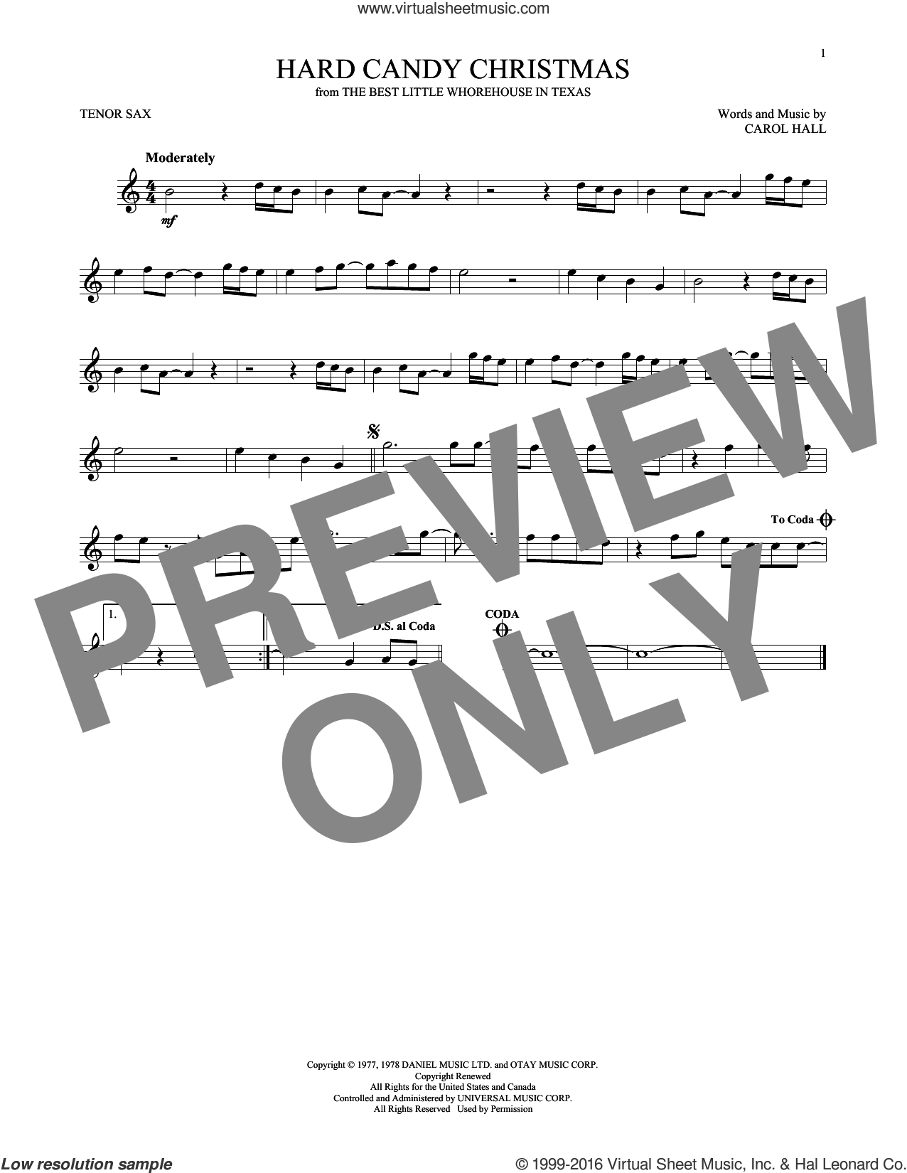 Hard Candy Christmas sheet music for tenor saxophone solo by Carol Hall and Dolly Parton. Score Image Preview.