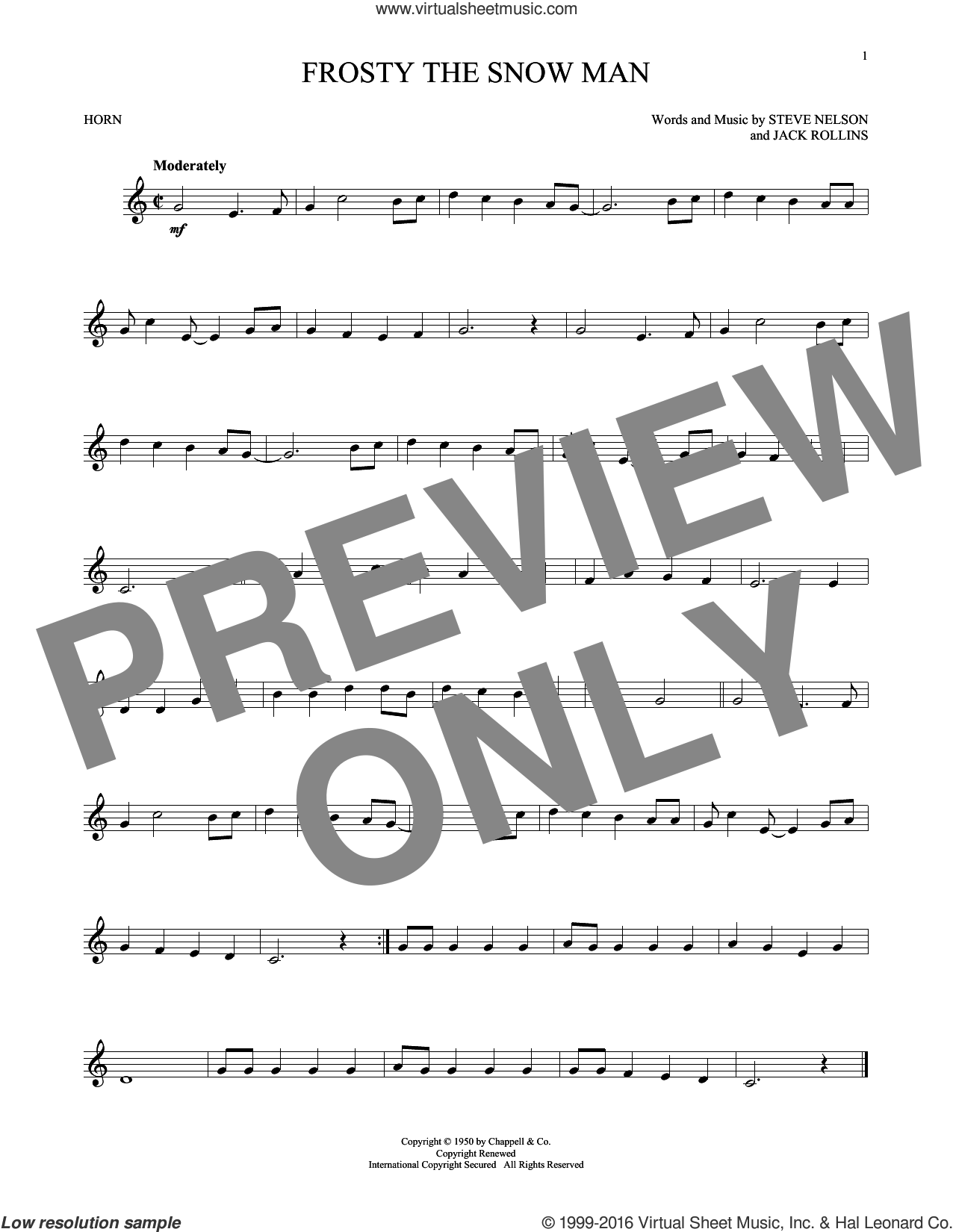 Frosty The Snow Man sheet music for horn solo by Steve Nelson and Jack Rollins. Score Image Preview.