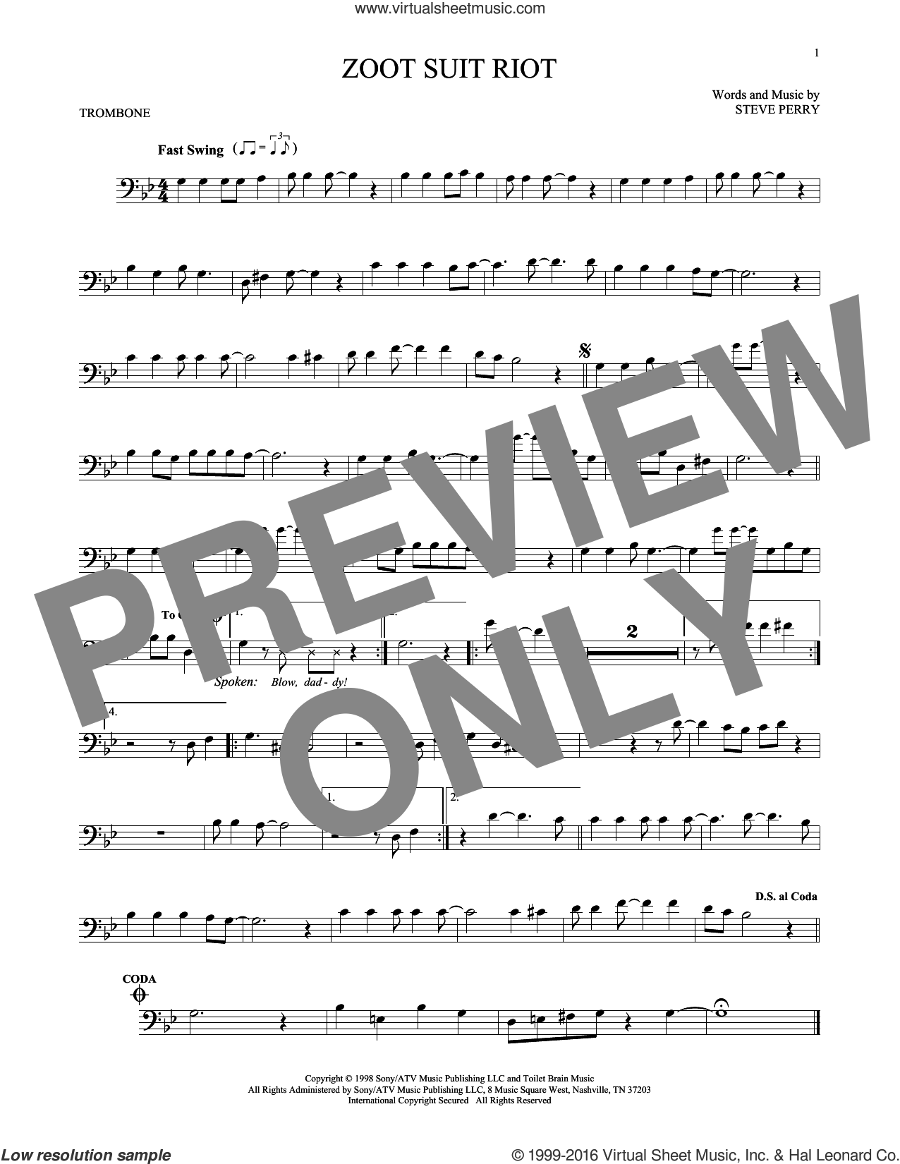 Zoot Suit Riot sheet music for trombone solo by Steve Perry. Score Image Preview.