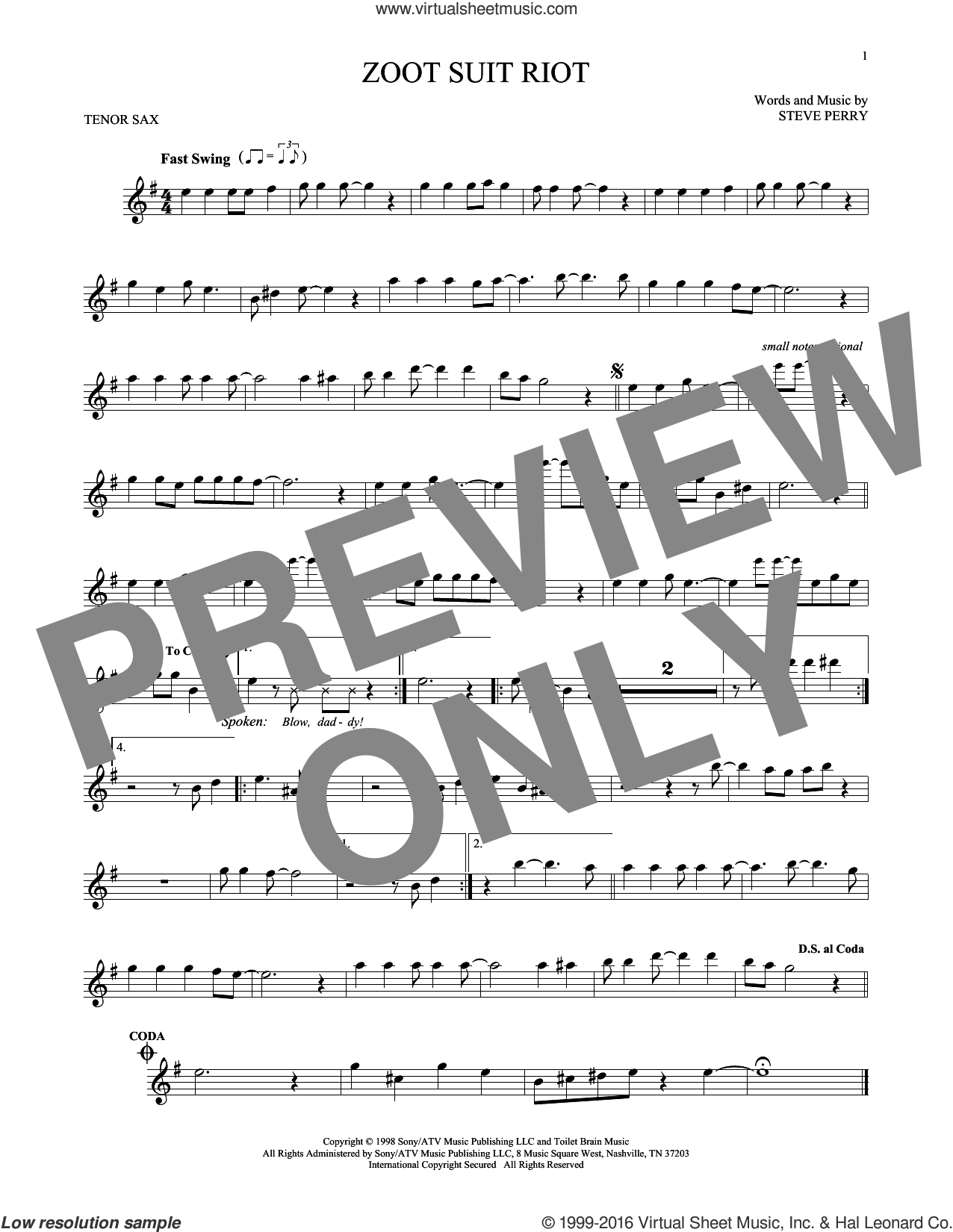 Zoot Suit Riot sheet music for tenor saxophone solo by Steve Perry. Score Image Preview.