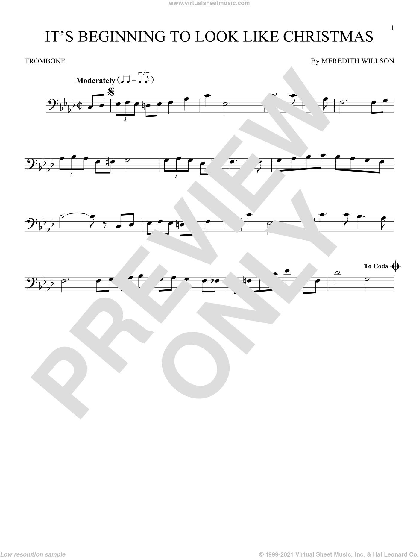 It's Beginning To Look Like Christmas sheet music for trombone solo by Meredith Willson, intermediate skill level