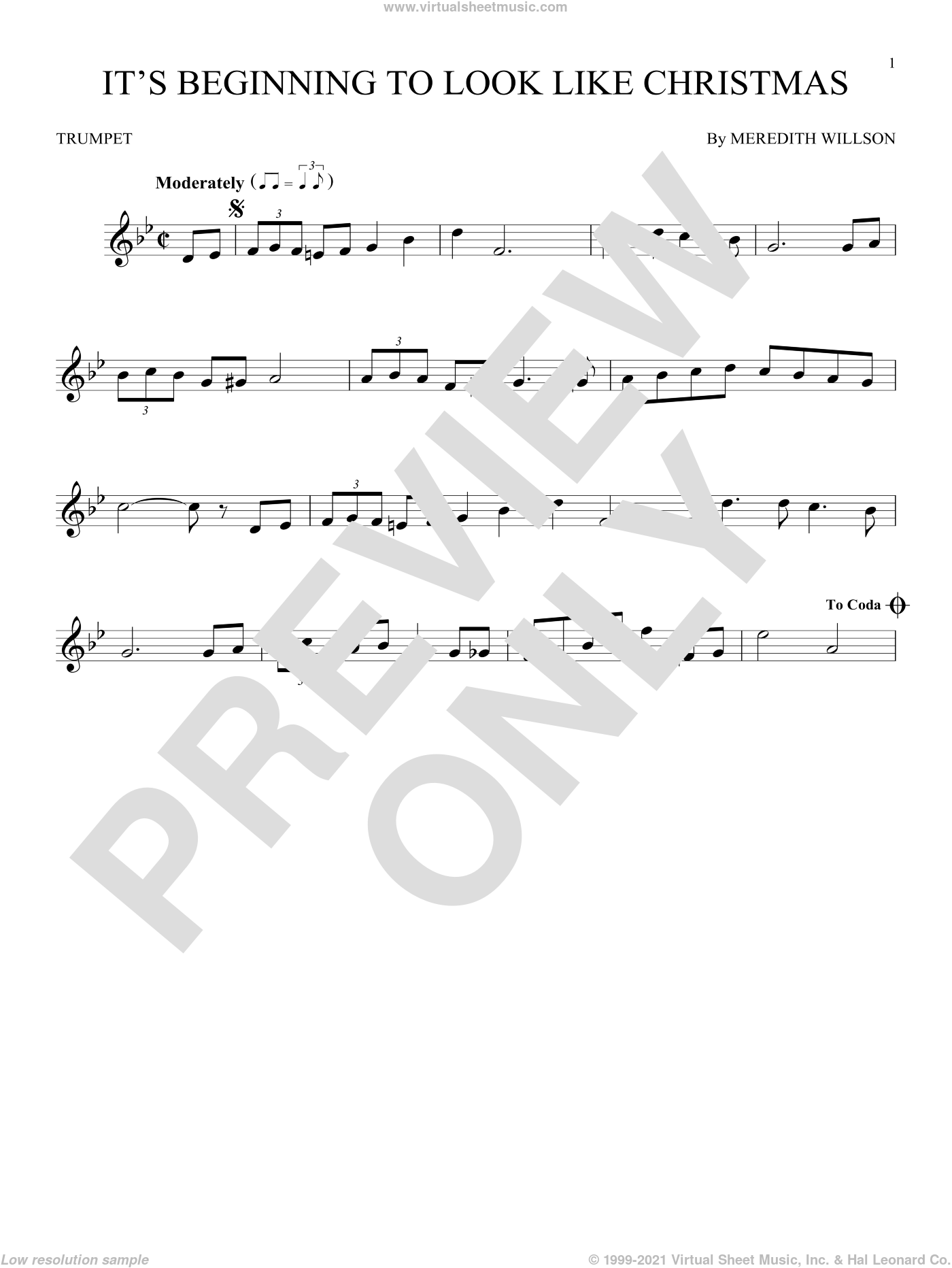 It's Beginning To Look Like Christmas sheet music for trumpet solo by Meredith Willson, intermediate skill level