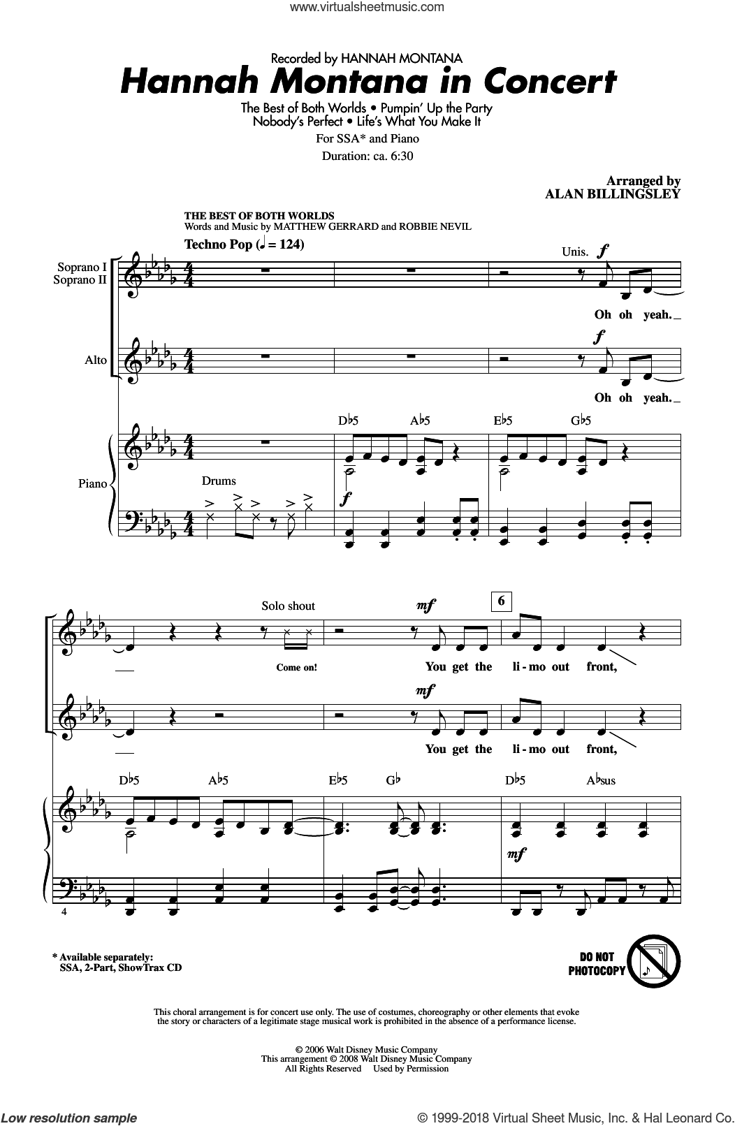 Hannah Montana In Concert sheet music for choir and piano (SSA) by Robbie Nevil, Alan Billingsley, Hannah Montana and Matthew Gerrard. Score Image Preview.