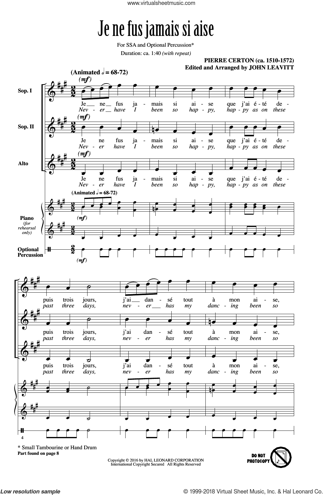Je Ne Fus Jamais Si Aise sheet music for choir and piano (SSA) by John Leavitt and Pierre Certon. Score Image Preview.