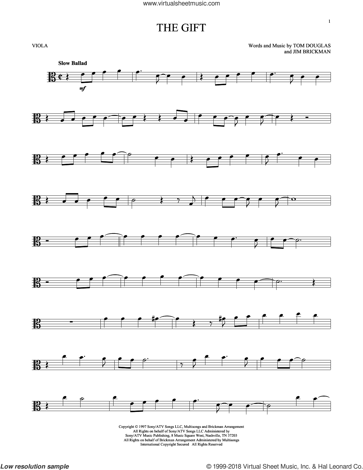 The Gift sheet music for viola solo by Jim Brickman, Collin Raye and Tom Douglas, intermediate