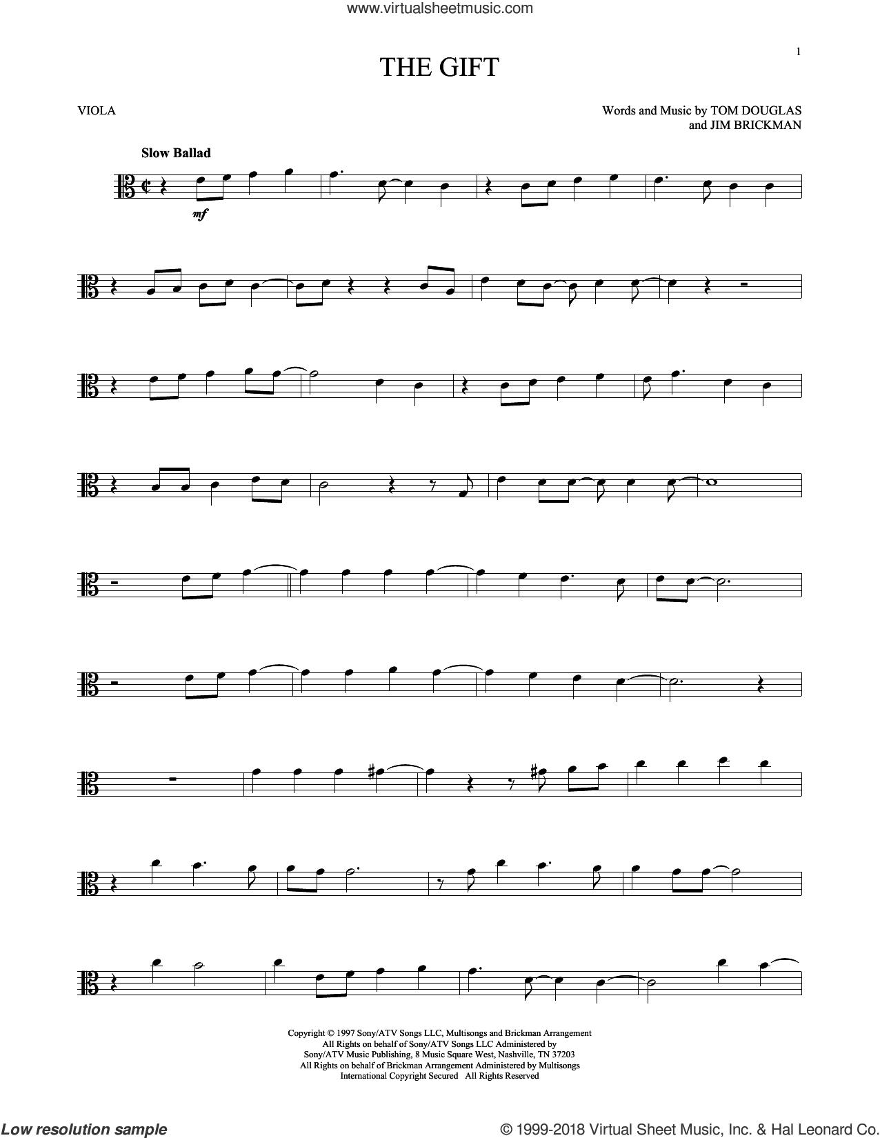 The Gift sheet music for viola solo by Jim Brickman, Collin Raye and Tom Douglas, intermediate skill level