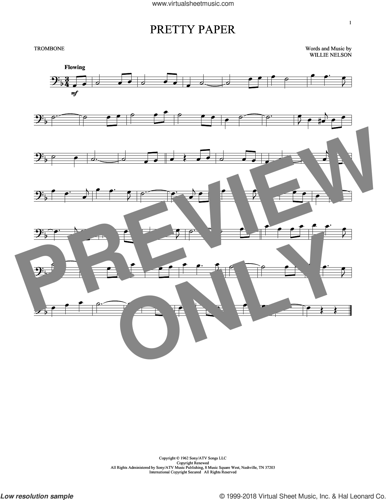 Pretty Paper sheet music for trombone solo by Willie Nelson and Roy Orbison, intermediate