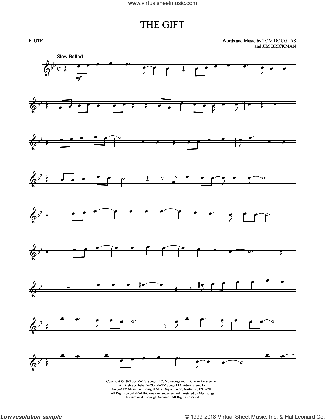 The Gift sheet music for flute solo by Jim Brickman, Collin Raye and Tom Douglas, intermediate skill level