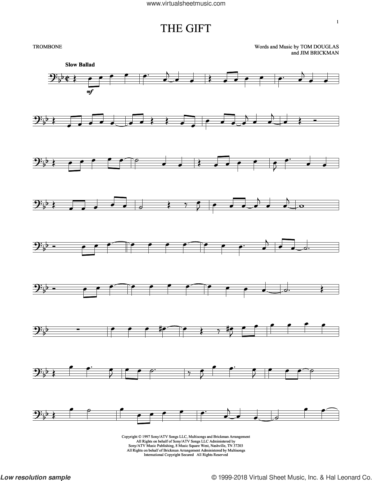 The Gift sheet music for trombone solo by Jim Brickman, Collin Raye and Tom Douglas, intermediate
