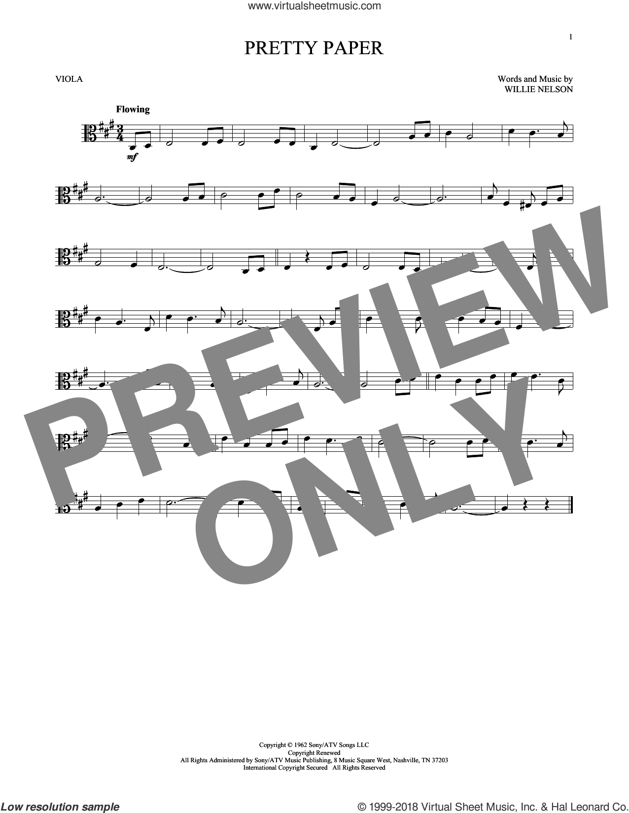 Pretty Paper sheet music for viola solo by Willie Nelson. Score Image Preview.