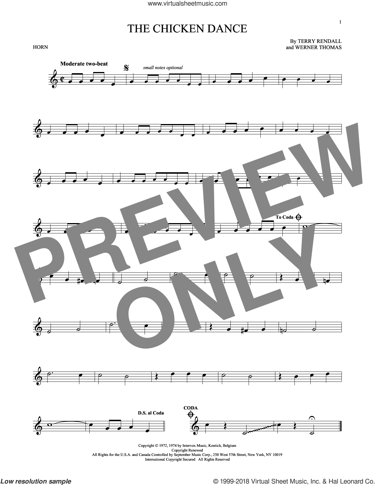 The Chicken Dance sheet music for horn solo by Terry Rendall, Paul Parnes and Werner Thomas. Score Image Preview.