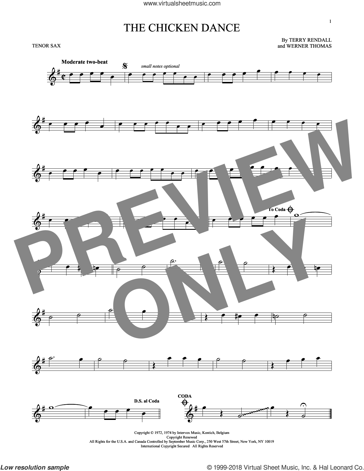 The Chicken Dance sheet music for tenor saxophone solo by Terry Rendall, Paul Parnes and Werner Thomas. Score Image Preview.