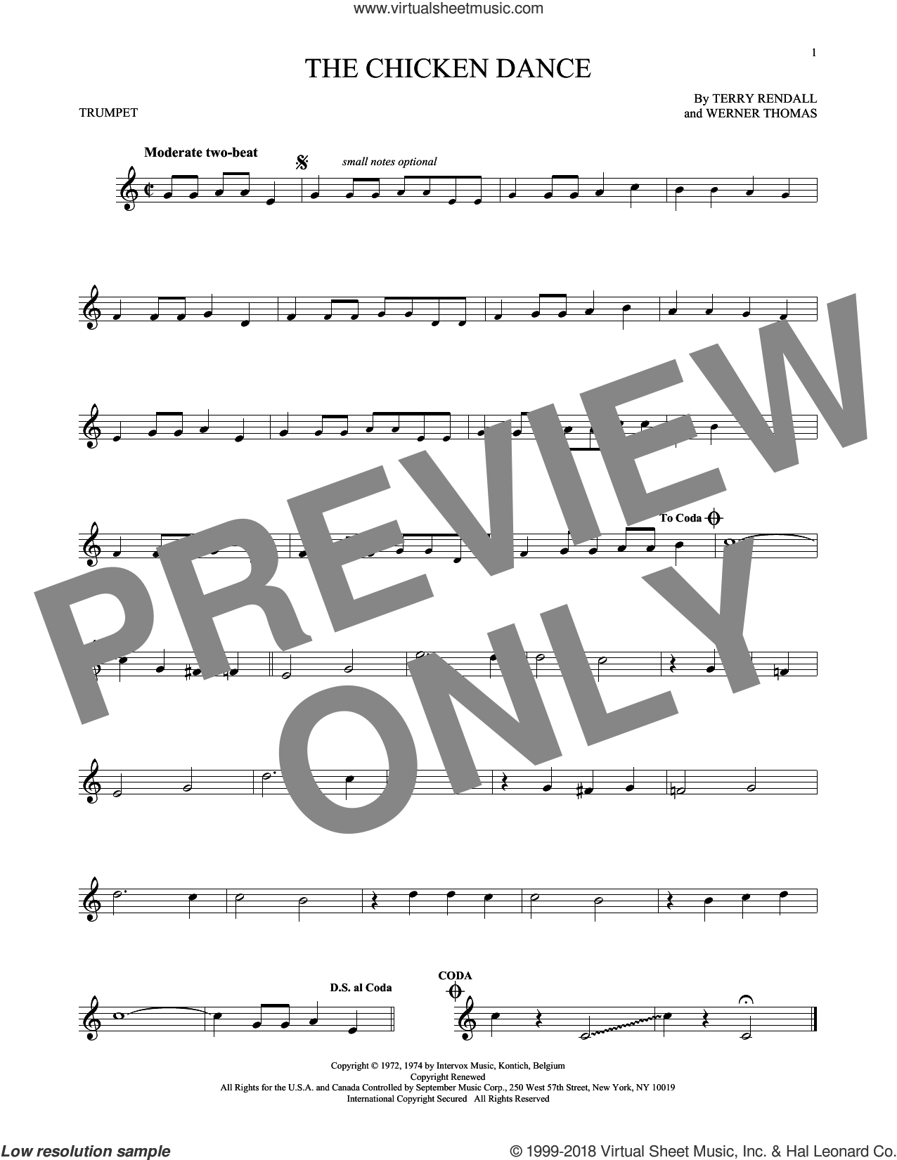 The Chicken Dance sheet music for trumpet solo by Werner Thomas and Terry Rendall. Score Image Preview.