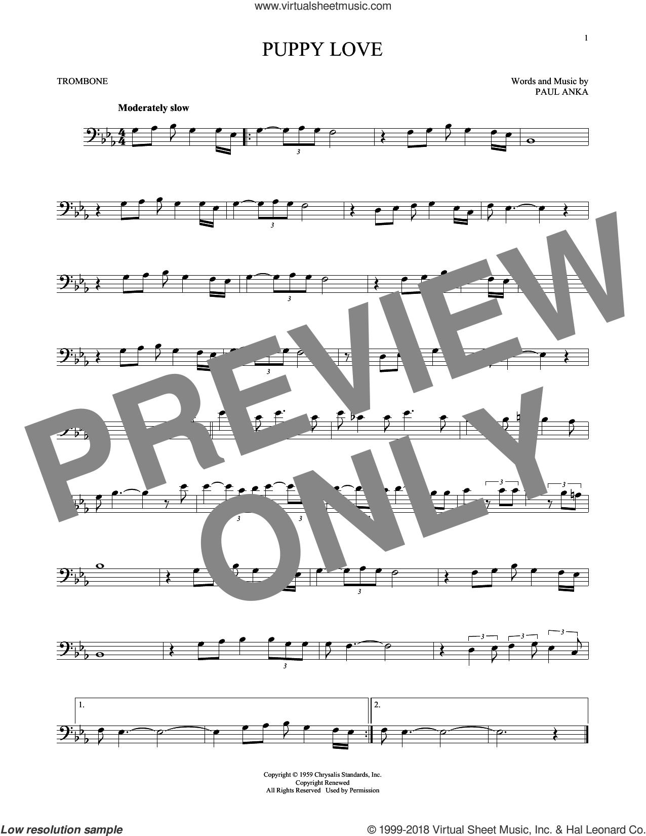 Puppy Love sheet music for trombone solo by Paul Anka and Donny Osmond, intermediate. Score Image Preview.