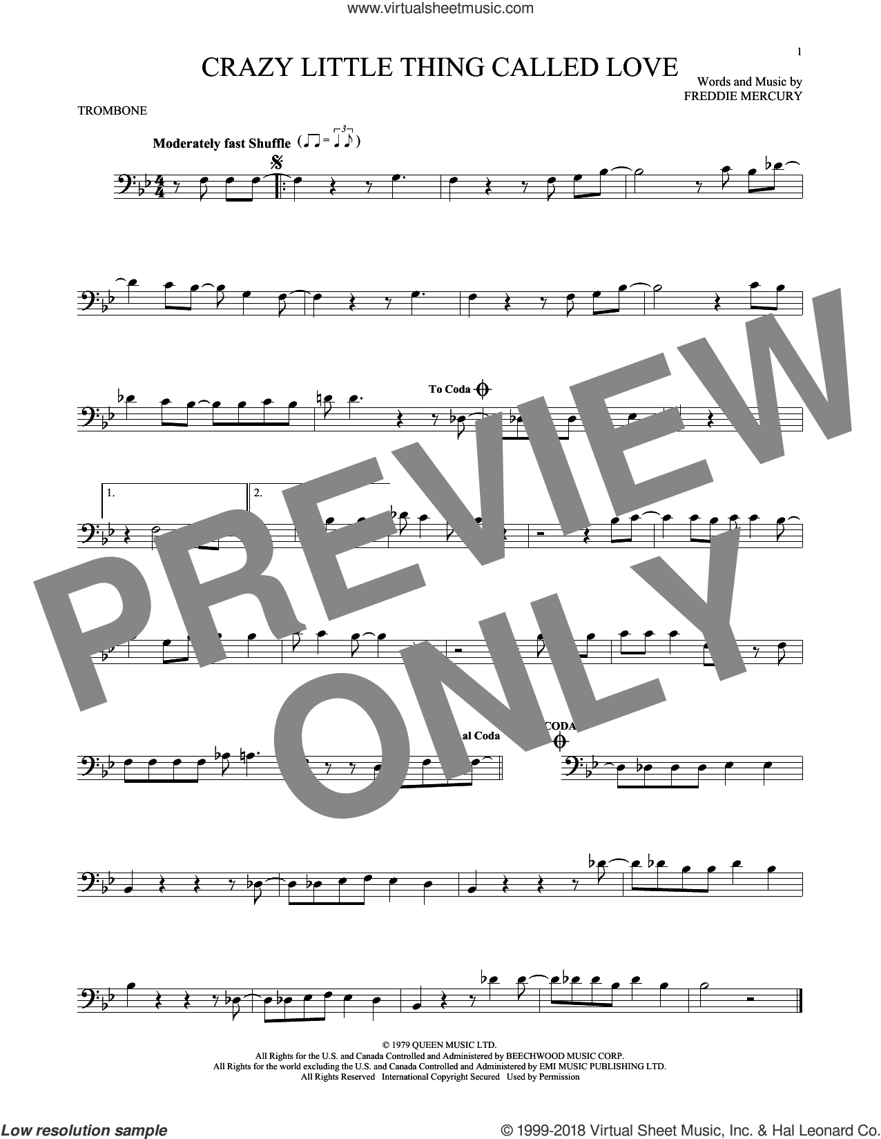 Crazy Little Thing Called Love sheet music for trombone solo by Queen, Dwight Yoakam and Freddie Mercury, intermediate. Score Image Preview.