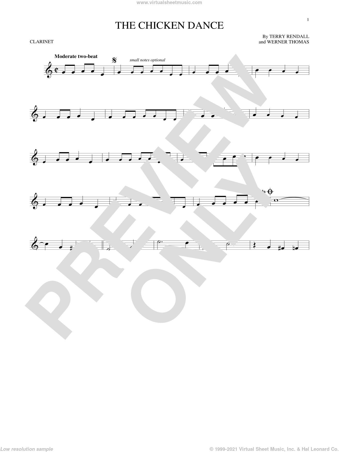 The Chicken Dance sheet music for clarinet solo by Terry Rendall, Paul Parnes and Werner Thomas. Score Image Preview.