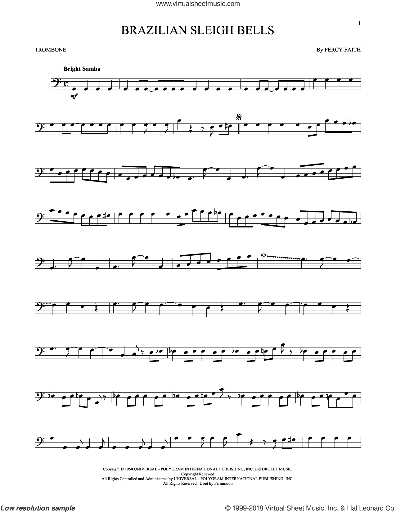 Brazilian Sleigh Bells sheet music for trombone solo by Percy Faith, intermediate skill level
