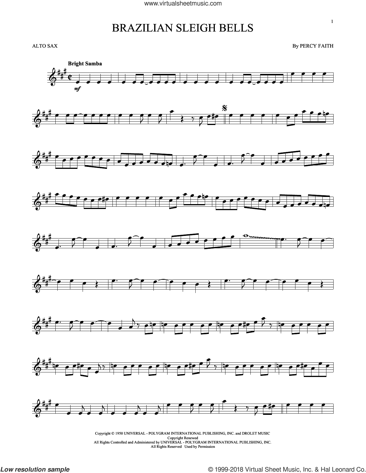 Brazilian Sleigh Bells sheet music for alto saxophone solo by Percy Faith, intermediate skill level
