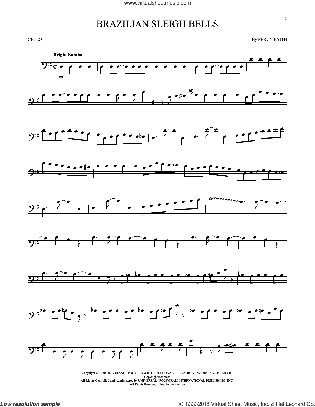Brazilian Sleigh Bells sheet music for cello solo by Percy Faith, intermediate skill level