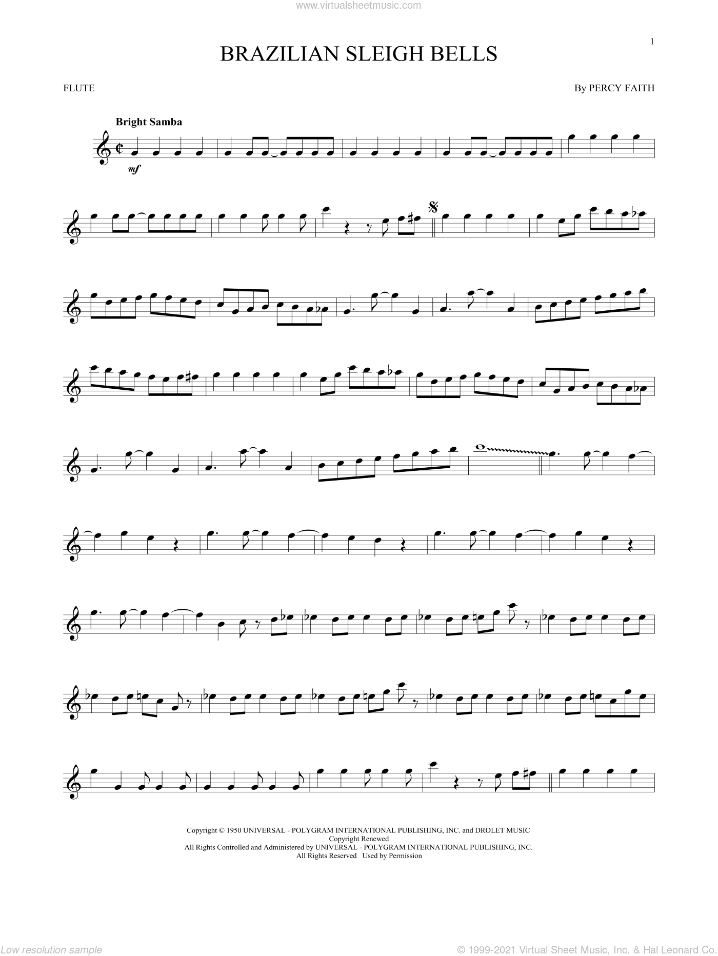 Brazilian Sleigh Bells sheet music for flute solo by Percy Faith. Score Image Preview.