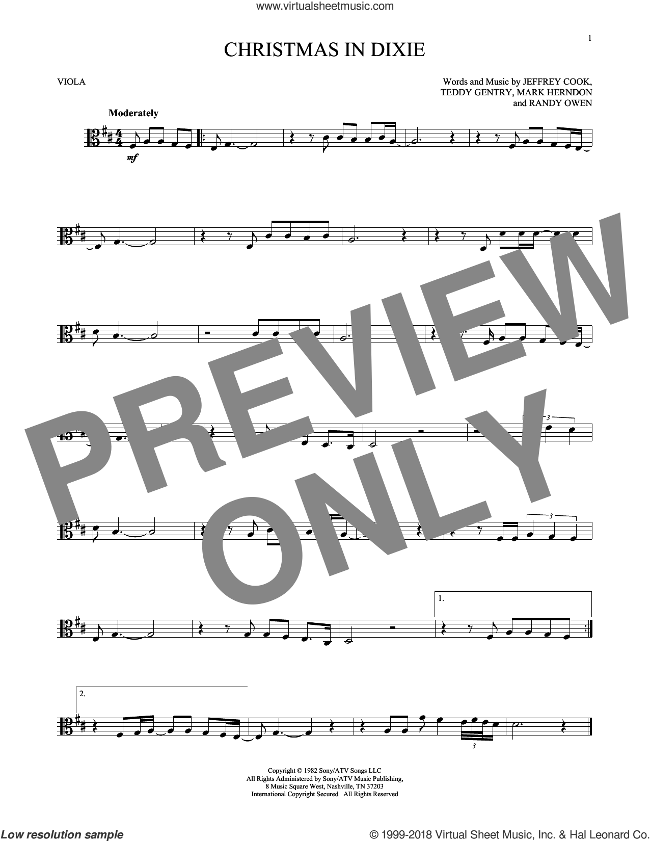 Christmas In Dixie sheet music for viola solo by Alabama, Jeffrey Cook, Mark Herndon, Randy Owen and Teddy Gentry, intermediate skill level