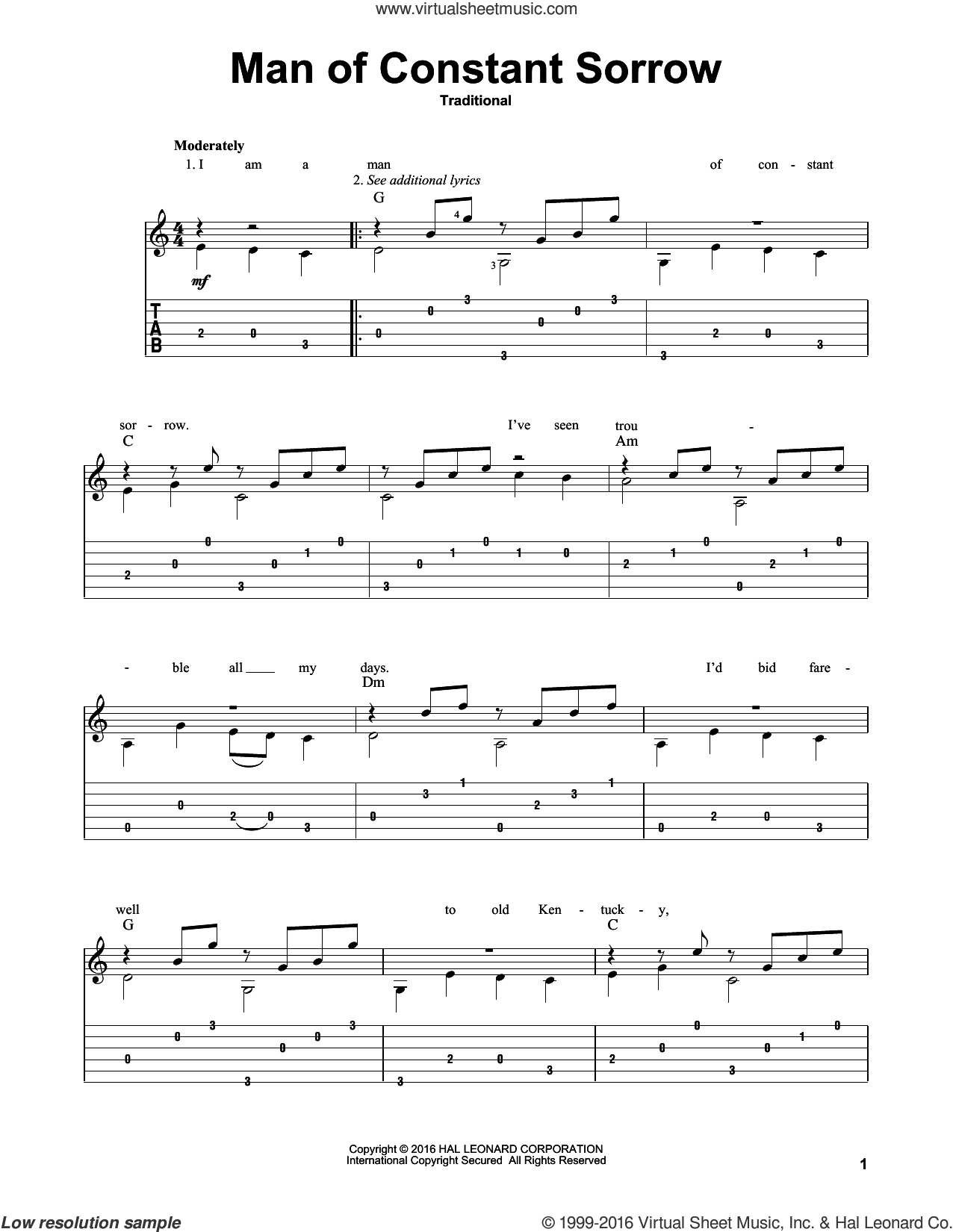 Man Of Constant Sorrow sheet music for guitar solo by Mark Phillips and Miscellaneous, intermediate guitar. Score Image Preview.