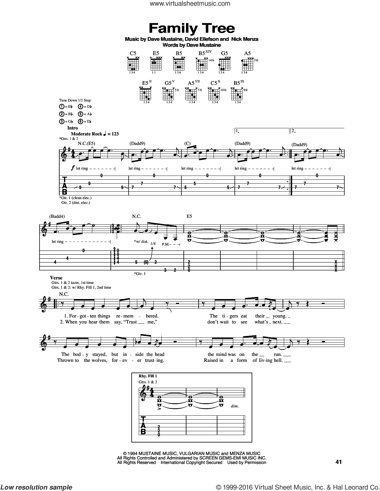 Family Tree sheet music for guitar (tablature) by Megadeth, Dave Ellefson, Dave Mustaine, Martin Friedman and Nick Menza, intermediate skill level