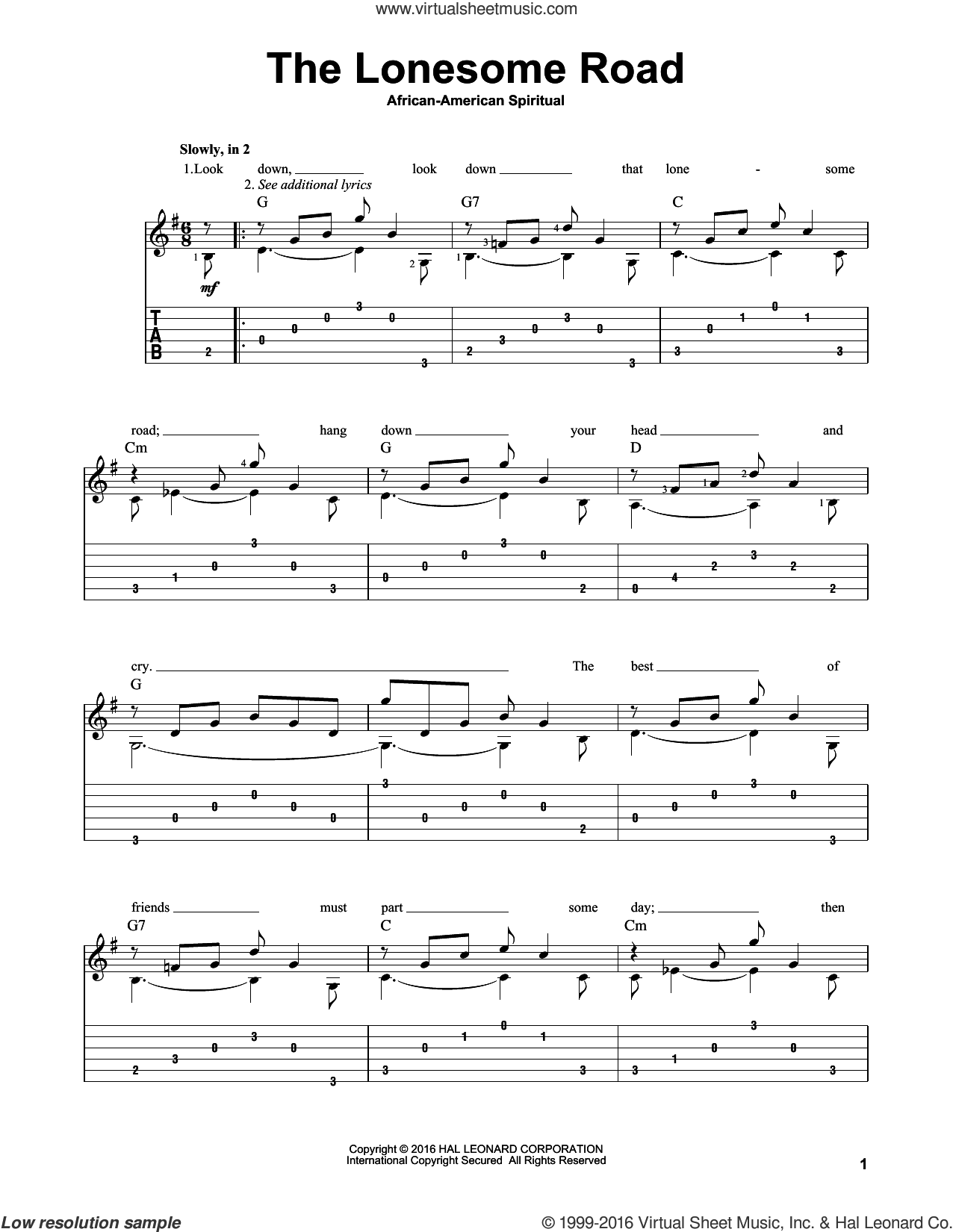The Lonesome Road sheet music for guitar solo by Mark Phillips and Miscellaneous. Score Image Preview.