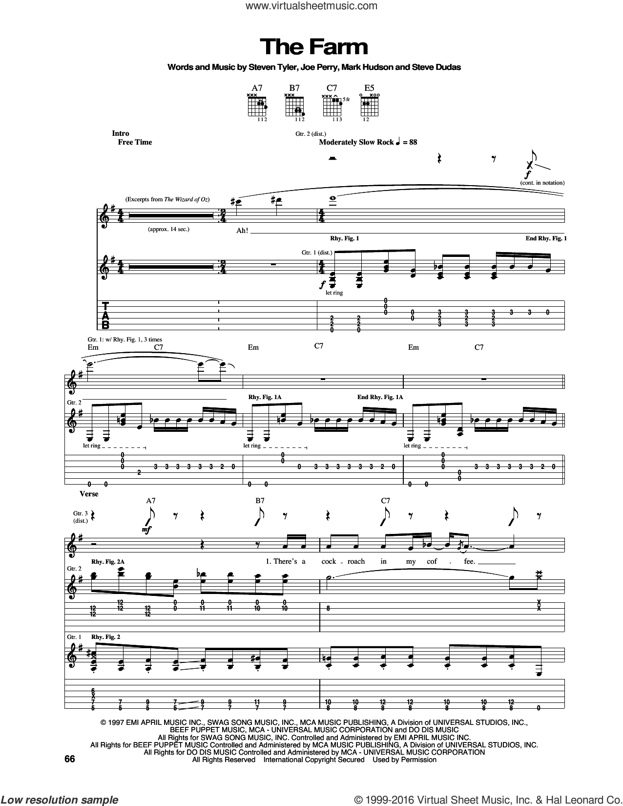 The Farm sheet music for guitar (tablature) by Aerosmith, Joe Perry, Mark Hudson, Steve Dudas and Steven Tyler, intermediate skill level