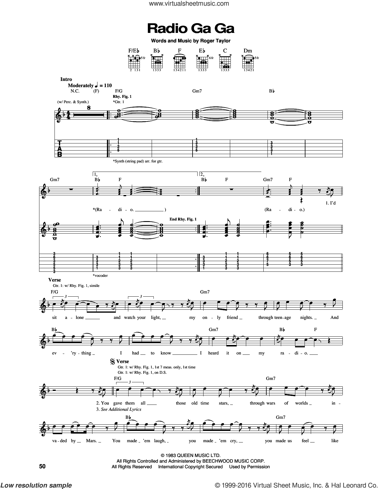 Radio Ga Ga sheet music for guitar (tablature) by Queen and Roger Taylor, intermediate skill level