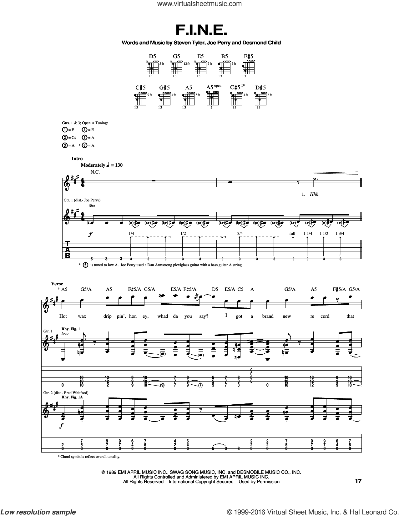 F.I.N.E. sheet music for guitar (tablature) by Aerosmith and Desmond Child. Score Image Preview.