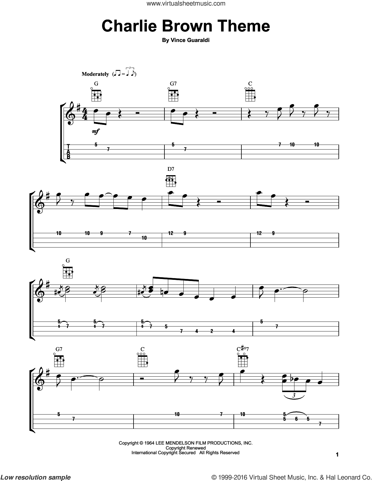 Charlie Brown Theme sheet music for ukulele by Vince Guaraldi, intermediate skill level