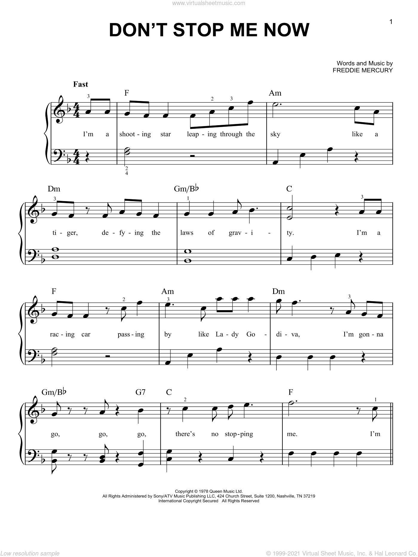 Don't Stop Me Now sheet music for piano solo by Queen and Freddie Mercury, easy skill level