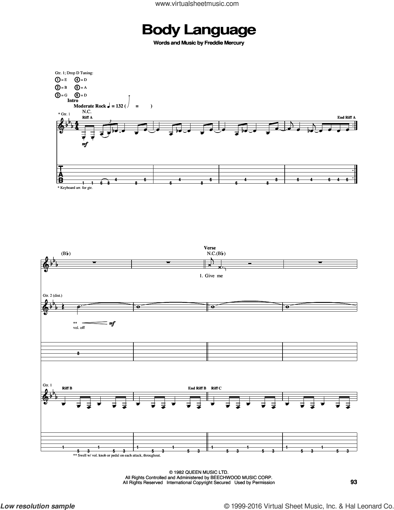Body Language sheet music for guitar (tablature) by Freddie Mercury and Queen. Score Image Preview.