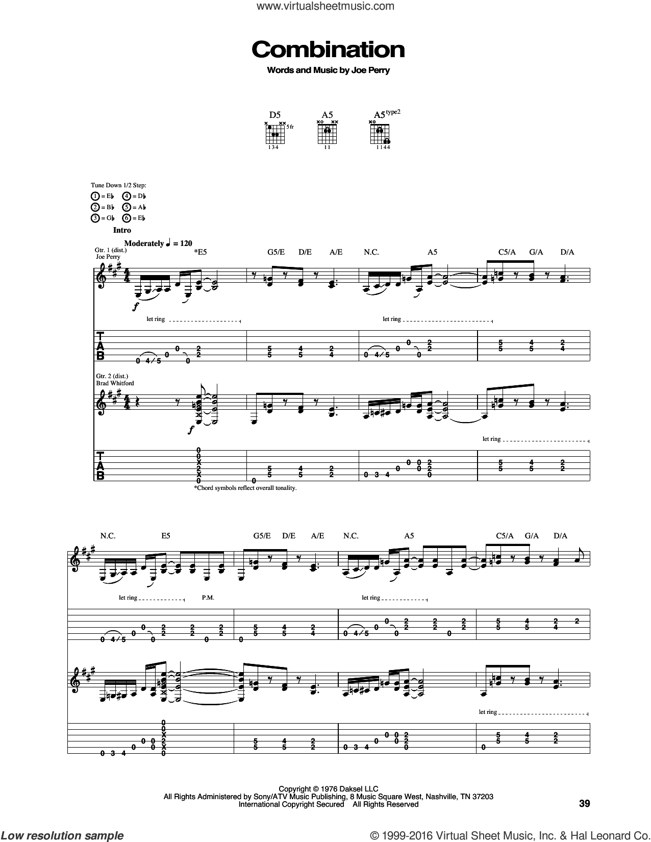 Combination sheet music for guitar (tablature) by Aerosmith, intermediate. Score Image Preview.