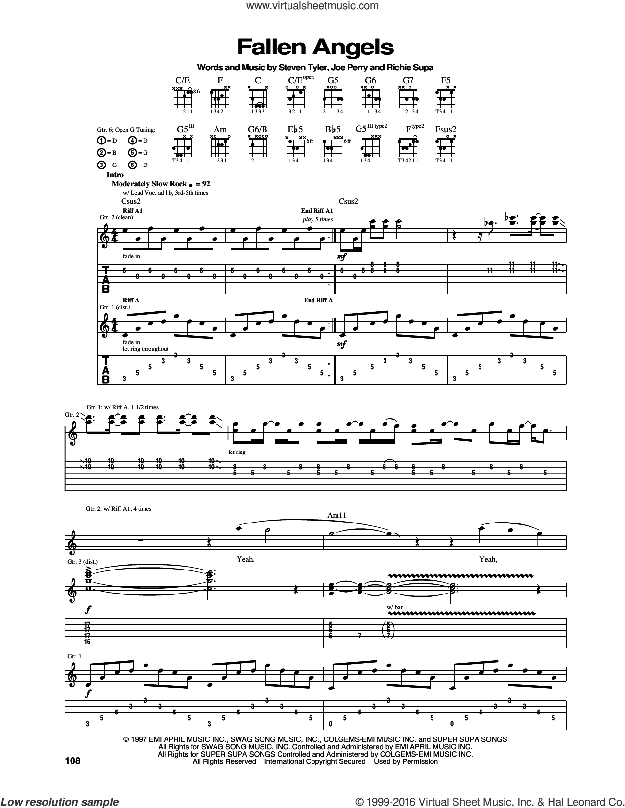 Fallen Angels sheet music for guitar (tablature) by Steven Tyler, Aerosmith, Joe Perry and Richie Supa. Score Image Preview.