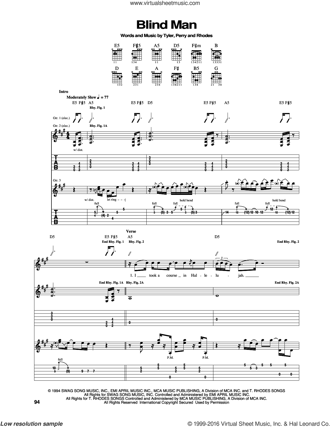 Blind Man sheet music for guitar (tablature) by Taylor Rhodes, Aerosmith, Joe Perry and Steven Tyler. Score Image Preview.