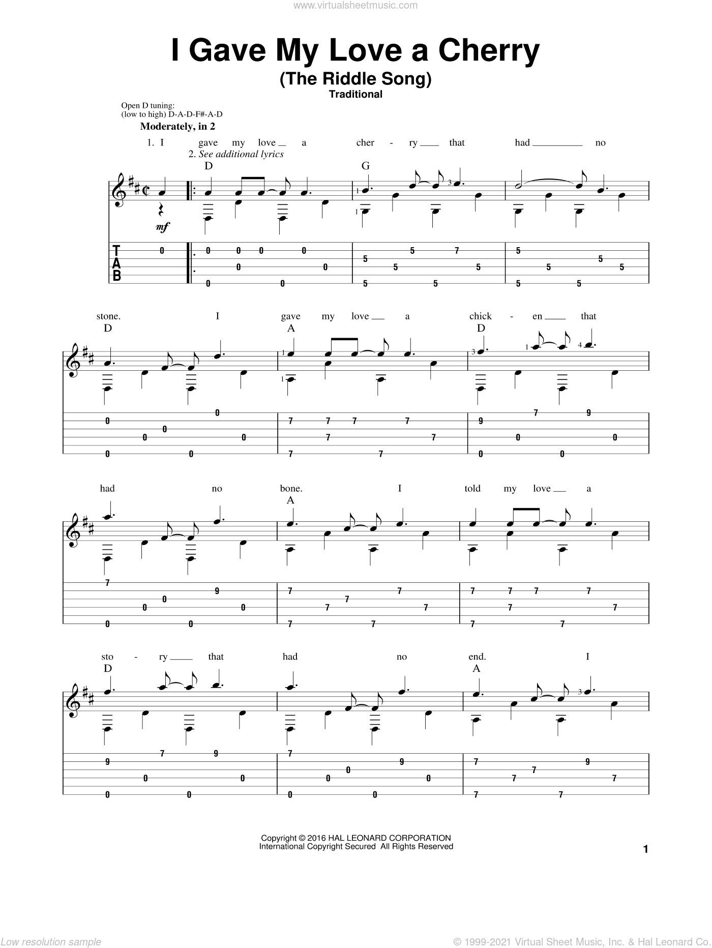 I Gave My Love A Cherry (The Riddle Song) sheet music for guitar solo by Mark Phillips and Miscellaneous, intermediate skill level