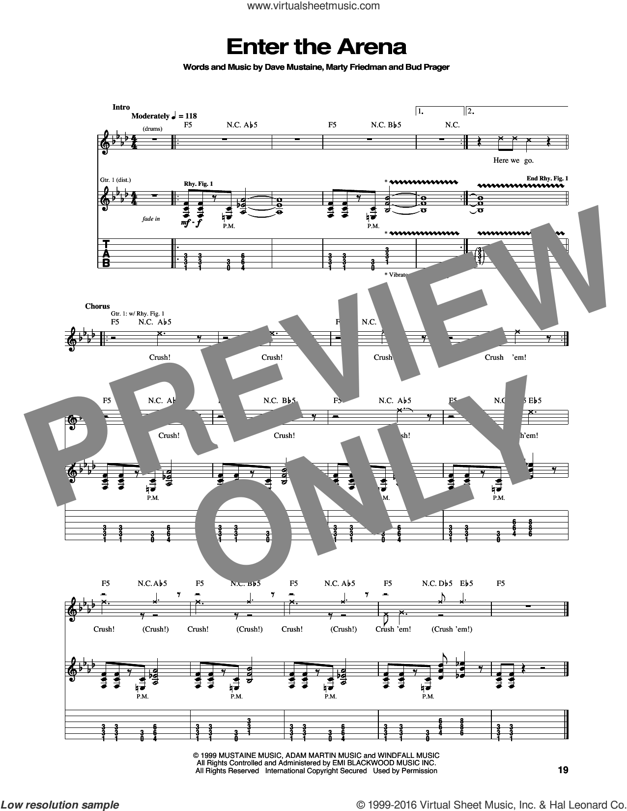 Enter The Arena sheet music for guitar (tablature) by Megadeth. Score Image Preview.