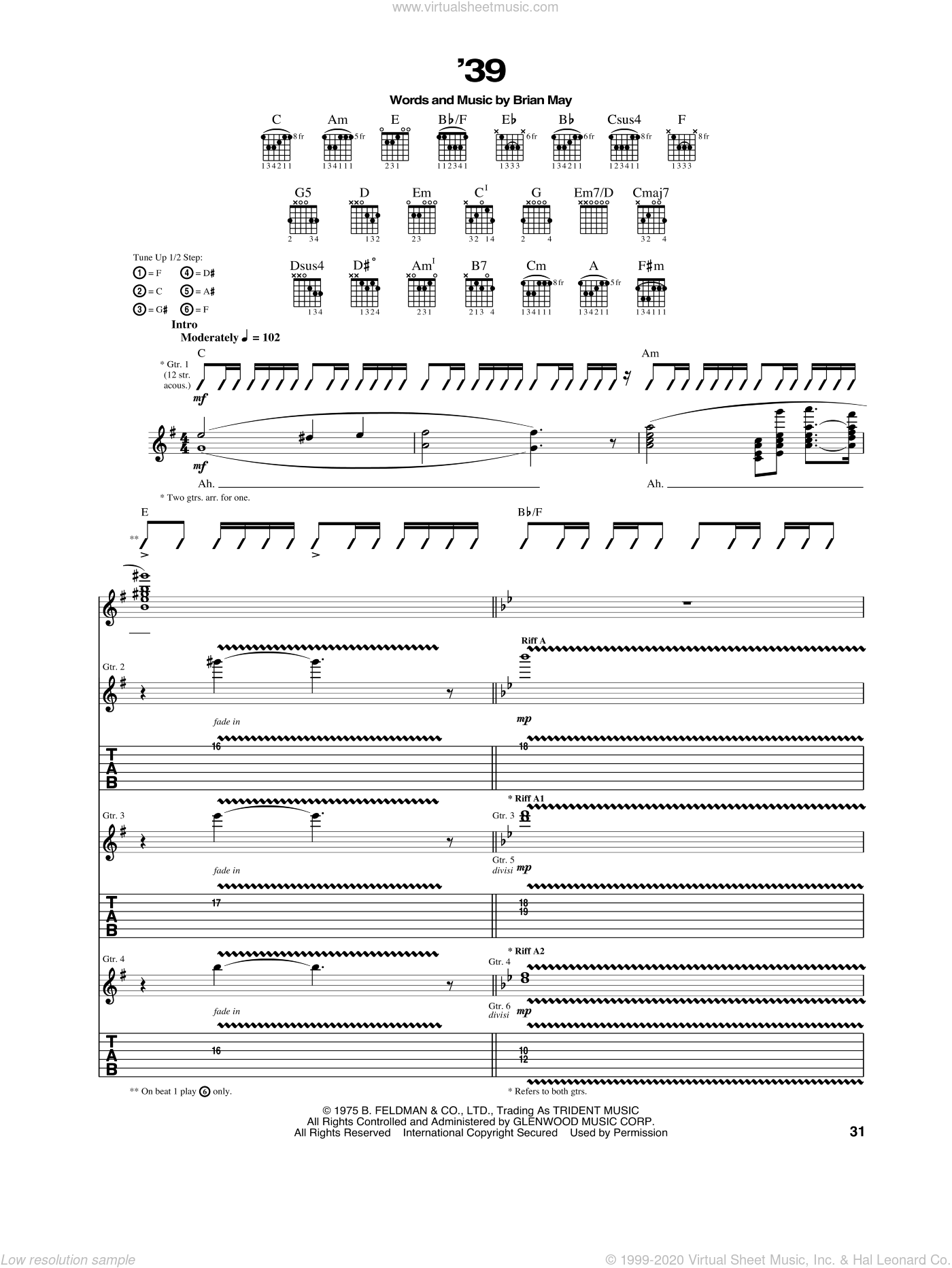 '39 sheet music for guitar (tablature) by Brian May and Queen. Score Image Preview.