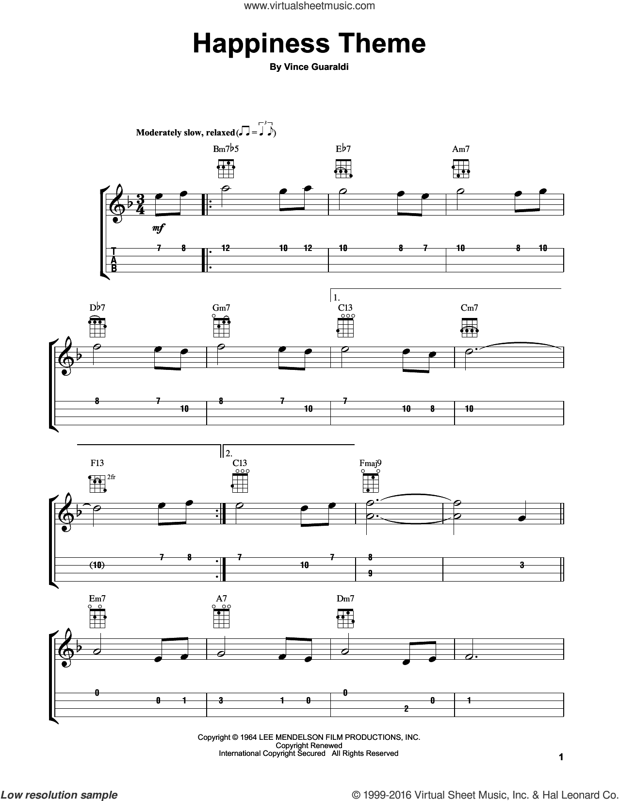 Happiness Theme sheet music for ukulele by Vince Guaraldi, intermediate skill level